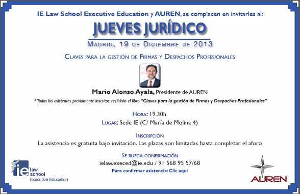 Invitacion jueves juridico- 19 de diciembre de 2013- libro Claves 3